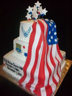 buttercream cake with fondant flag and other accents. The emblems were edible printed images. Army Cake, Military Cake, Military Party, Buttercream Cake, Fondant Cakes, Cupcake Cakes, Cupcakes, Retirement Party Cakes, Retirement Ideas