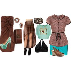 Pairing Brown WIth Turquoise by nerline-germain, via Polyvore