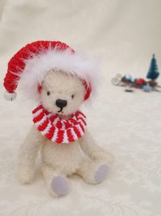 Miniature jointed bear - christmas miniature mohair artist teddy bear by LakeDistrictTeddies on Etsy