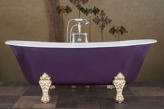 Schooner Aubergine with Faux Gold Leaf Legs
