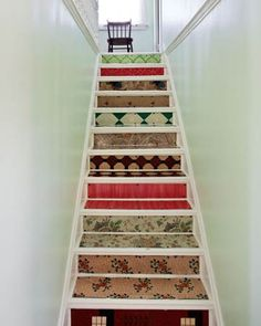 Decoupaged stairs.