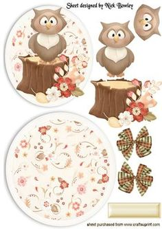 WOODLAND OWL WITH FLOWERS ROCKER CARD on Craftsuprint - Add To Basket!