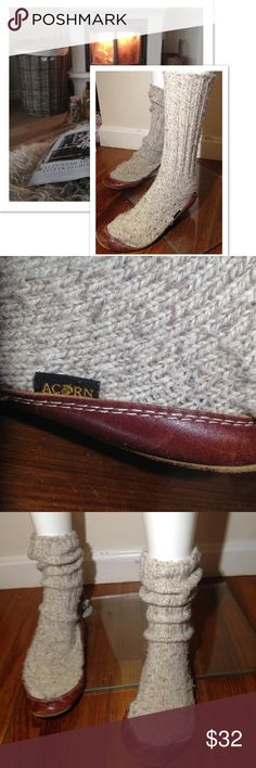 """🎉💥BUY 1 GET 1 FREE sale 5-7 ACORN Slippers ACORN 14"""" Long Wool Slippers Mohagany Base Trim Oatmeal color WOMENS Size XXS 5-7 Christmas gift idea stocking stuffers cover photo is to show style Acorn Shoes"""