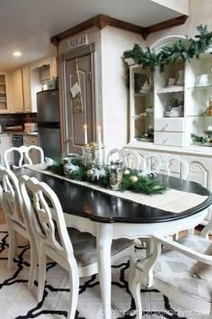 Dining Table Inspiration - Christmas Home Tour 2014 Confessions of a Serial Do-it-Yourselfer Refurbished Furniture, Furniture Makeover, Painted Furniture, Refinished Table, Modern Furniture, Furniture Design, Dining Room Design, Dining Room Furniture, Dining Room Table Centerpieces