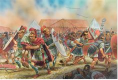Battle of Mutin. April 43 BC Legionnaires carry out the body of Consul Aulus of Hyrcia from the battlefield, who fell during the storming of the camp of Mark Antony. By Peter Dennis. Ancient Egyptian Art, Ancient Aliens, Ancient Rome, Ancient Greece, Ancient History, Roman History, European History, American History, Roman Legion