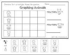 FREEBIE - Graphing animal data! Color, cut, glue and write activity