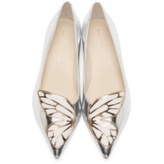Sophia Webster Silver Butterfly Bibi Flats ($300) ❤ liked on Polyvore featuring shoes, flats, silver flat shoes, butterfly shoes, white flats, white pointed toe flats and flat pumps