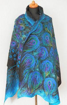 nuno felted silk scarf PEACOCK BLUE art shawl by kantorysinska