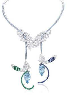 VCA Demoiselles necklace, Palais de la chance collection. White gold, emeralds, sapphires, diamonds and 2 pear-shaped aquamarines of 14,47 and 13,42 carats.