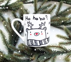 Ho ho ho? - porcelanowy kubek świąteczny - miamilu - Kubki i filiżanki