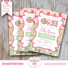 First Birthday Invitation, Shabby Chic Burlap Invitation, Pink and Green Floral (INV 021) by charmcitycharm on Etsy