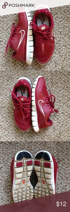 Nike Women's Freewalk in Maroon Maroon and cream Nikes. Bought and worn once for final exam of powerwalking class. Great Aggie game day kicks! There is a small white mark towards the toe of the left shoe, but these are perfect otherwise. Nike Shoes Athletic Shoes