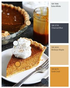 Save room for #dessert and you might discover the Sherwin-Williams colors you've been craving. Paints like Extra White SW 7006 and Charcoal Blue SW 2739 magically appear in this slice of #pumpkin #pie courtesy of our ColorSnap Visualizer.