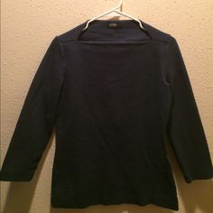 Kate Spade Saturday Top Boat neck top made of thicker, quality, 100% cotton. Boat neckline and is raised in the back of the neck. Sleeves fall between elbow and wrist. From Kate Spade's Saturday brand. It is difficult to tell if this is dark blue or black. Some wear but good used condition. Feel free to make an offer! Kate Spade Saturday Tops Blouses