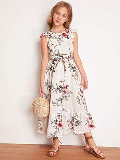 Girls Dresses Sewing, Girls Maxi Dresses, Stylish Dresses For Girls, Frocks For Girls, Kids Outfits Girls, Girls Fashion Clothes, Cute Dresses, Fashion Dresses, Summer Dresses