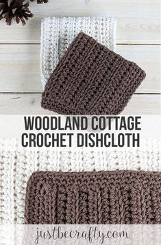 Crochet Granny Square Design Free crochet dishcloth pattern by Just Be Crafty - The Woodland Cottage Crochet Dishcloth Pattern makes for a great beginner project and perfect for the last minute gift any time of the year! Bag Crochet, Crochet Home, Crochet Crafts, Crochet Projects, Free Crochet, Crochet Beanie, Doilies Crochet, Crochet Ornaments, Crochet Snowflakes