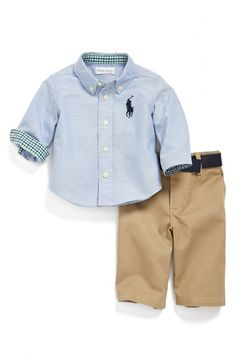 Ralph Lauren Oxford Shirt & Chinos (Baby Boys) at Nordstrom.com. Check-print lining peeks out at the collar and cuffs of a logo-embroidered button-front shirt paired with crisp cotton chinos and a coordinating belt for a dashing ensemble.