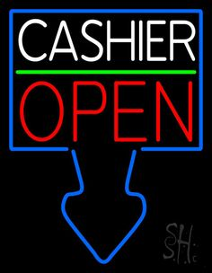 Arrow Cashier Open Neon Sign 31 Tall x 24 Wide x 3 Deep, is 100% Handcrafted with Real Glass Tube Neon Sign. !!! Made in USA !!!  Colors on the sign are Blue, Red, Green and White. Arrow Cashier Open Neon Sign is high impact, eye catching, real glass tube neon sign. This characteristic glow can attract customers like nothing else, virtually burning your identity into the minds of potential and future customers.