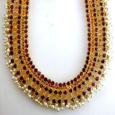 red garnet studded necklace