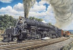 In 1944, The B Railroad acquired its greatest modern steam locomotive, the EM-1 2-8-8-4, from the Baldwin Locomotive Works in Philadelphia. By the end of 1945, B would have 30 of these locomotives. This engine represented the pinnacle of steam power. Also known as the Yellowstone type, at 125 feet in length and over one million pounds, these giants had power and speed. They matched up well against some of the largest and most well known steam engines in the country.