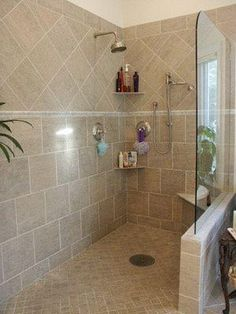 doorless shower bathroom no glass just build wall taller and dont - Shower Wall Tile Design