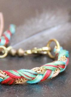 weave embroidery floss and chain together for a new take on friendship bracelets
