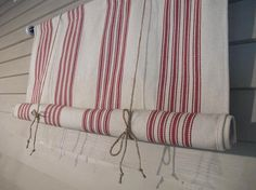 Red Cotton Woven Canvas Tie Up Shade 36 Inch Long Shade Tie Up Curtain Modern Farmhouse Swedish Roll Up Porch Blind Woven Stripes Tie Up Curtains, Yellow Curtains, Striped Curtains, Drop Cloth Curtains, Floral Curtains, Colorful Curtains, Curtains With Blinds, Blinds Diy, Roman Curtains