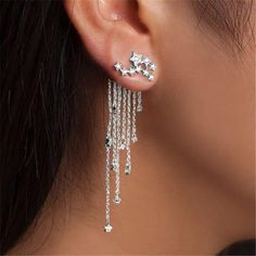 Womens Stylish Cutted White PU Chandelier Fringes Dangle Gold-Tone Hook Earrings