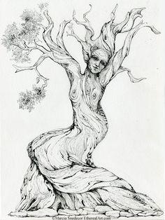 Dancing Juniper Tree Original Ink Drawing by EtherealArt on Etsy