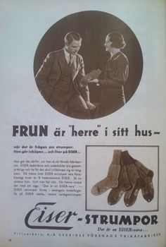 Ad for socks from Eiser, a Swedish company making jersey and knitware. 1932