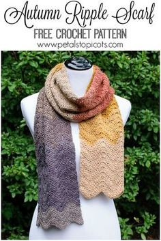 This Autumn Ripple crochet scarf pattern makes for a great project for any experience level! It's a perfect beginner project because it only takes one stitch and some increases and decreases to get an awesome ripple effect. Add in some self striping yarn and you don't even need to fuss with changing colors! Click over for the free pattern.