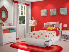 Red and white kids bedroom ideas