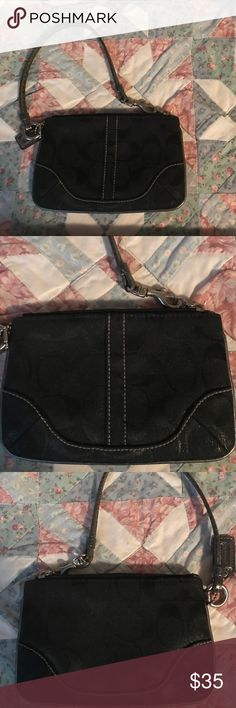 d6fd6e97be Pre-loved good condition no holes zipper works fine Signature coach tag  that comes with it Coach Bags Clutches   Wristlets