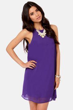 Cute Purple Dress - Chiffon Dress - Shift Dress - $37.00 Recruitment!