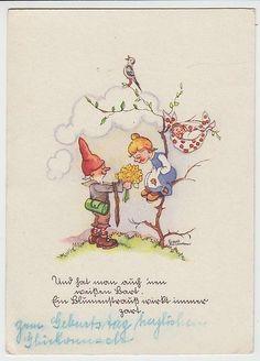 (27871) Künstler AK Liesel Lauterborn, Zwerg mit Blumenstrauß, vor 1945 | eBay
