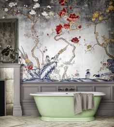 Let us introduce our new Tweed cast iron bath, based on the Bateau Bath design of the century, painted in a beautiful green pastel… Bathroom Inspiration, Design Inspiration, Design Ideas, Wc Decoration, Wallpaper Wall, Chinoiserie Wallpaper, De Gournay Wallpaper, Asian Wallpaper, Chinoiserie Chic