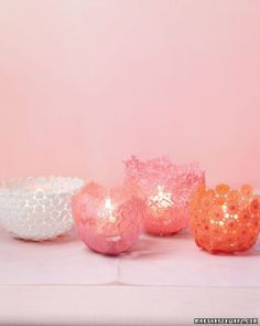 """See the """"Lacy Votive Holder"""" in our DIY Votive Candle Crafts gallery Lace Candles, Romantic Candles, Votive Candles, Candle Cups, Glass Votive, Candleholders, Valentines Bricolage, Valentine Day Crafts, Recycled Crafts"""