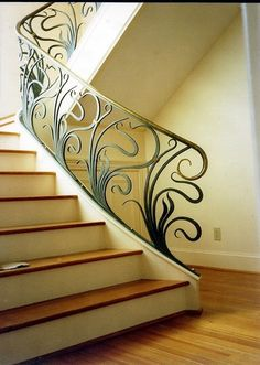 Vega Metals is a metal forge located in Durham North Carolina (NC) founded by Neal Carlton and Francis Vega Metal Stair Railing, Balcony Railing Design, Wrought Iron Stairs, Stair Handrail, Staircase Design, Railings, Iron Gate Design, Iron Balusters, Steel Stairs