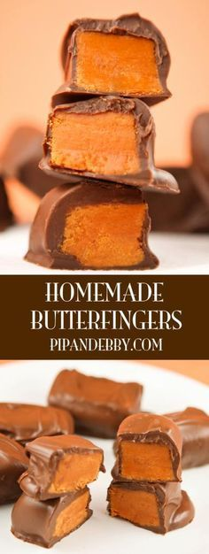 Homemade Butterfinger Candy Bars – These taste just like the original and you will be surprised how easy they are to make. Made with CANDY CORN! Homemade Butterfinger Candy B Just Desserts, Delicious Desserts, Dessert Recipes, Yummy Food, Holiday Baking, Christmas Baking, Homemade Christmas Candy, Holiday Candy, Handmade Christmas