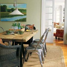 Metal dining chairs wood table