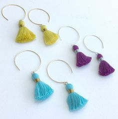 Summer Fun Tassel Earrings Handmade Hammered Wire Circle Dangle Drop Hoops in Sterling Silver or Gold Filled Colorful Cotton Festival Wear | colorful jewelry | tassel jewelry | minimalist jewelry | fun jewelry | jewelry with character | colorful earrings