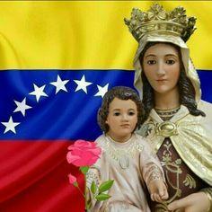 Resultado de imagen para virgen del carmen con la bandera de venezuela