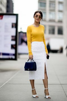 yellow top, white skirt/pants, white shoes