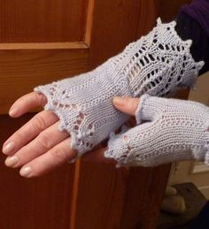 Free Knitting Pattern for Bronte's Mitts - These lace fingerless mitts feature picot edges. Designed by Diane Mulholland. Pictured project by knitteria