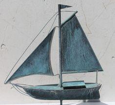 1920's American copper full body form sailboat weathervane.