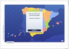 """""""Provincias de España"""", de juegos-geograficos.com, juega a identificar en el mapa las Provincias Españolas que se indican en la parte superior. Buen medio para celebrar el Día de la Constitución Española, el día 6 de diciembre."""