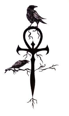Crow On Ankh Tattoo Design Ankh Tattoo, Yakuza Tattoo, Tattoo Drawings, Body Art Tattoos, Sleeve Tattoos, Ear Tattoos, Wicked Tattoos, Tatoos, Crow Tattoo Design