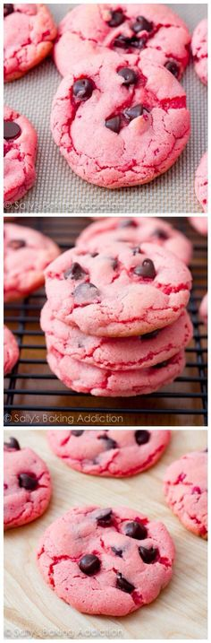 simple, soft-baked Strawberry Chocolate Chip Cookies are one of my most popular cookie recipes!These simple, soft-baked Strawberry Chocolate Chip Cookies are one of my most popular cookie recipes! Cookie Desserts, Just Desserts, Cookie Recipes, Dessert Recipes, Valentine Desserts, Valentine Cookies, Pink Desserts, Baking Desserts, Dessert Healthy