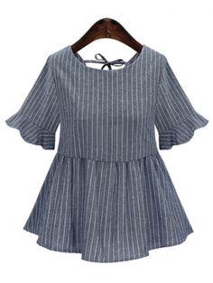 GET $50 NOW   Join RoseGal: Get YOUR $50 NOW!http://www.rosegal.com/plus-size-tops/striped-back-lace-up-frilled-blouse-510800.html?seid=6833286rg510800
