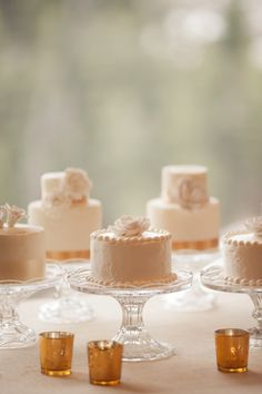 Mini wedding cakes. worth consideration bc I think it would possibly be nice for the bride and groom to stop at each table of guests, cutting their cake and thanking them for sharing the day  ... could be special.  Seems like the big cake is lost in the photo op ...